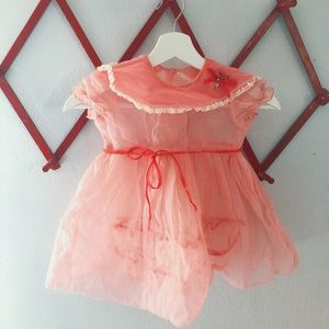 1950s girls sheer pink and red party dress 3T/4T